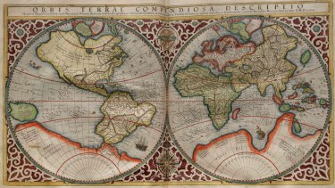 Planisphere made by Rumold Mercator in 1587. Rumold was the son of Gerardus Mercator, who invented the Mercator projection.