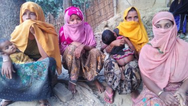 Four Rohingya women at a refugee camp near Cox's Bazar, Bangladesh.