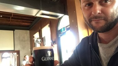 Prestipino enjoying a Guinness at The Windsor - the only beer it serves in a pint glass.