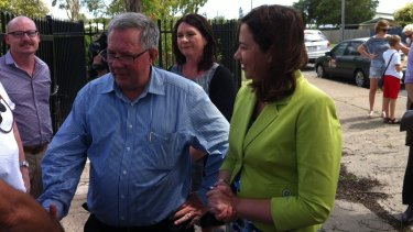 Retiring Labor deputy Tim Mulherin in Mackay with Annastacia Palaszczuk on Friday.