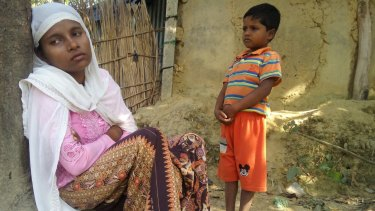 Rohingya refugee Jamalida Begum and her seven-year-old son Mohammad Ayaz at a refugee camp in Bangladesh.
