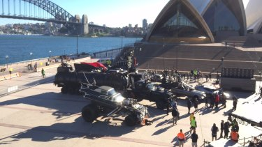 Vehicles for the film <em>Mad Max: Fury Road</em> at the Sydney Opera House.