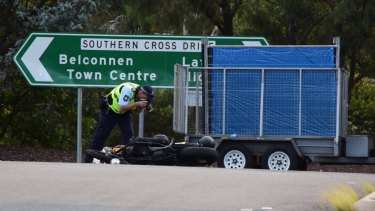 A motorcyclist was killed in a crash in Florey on Thursday.