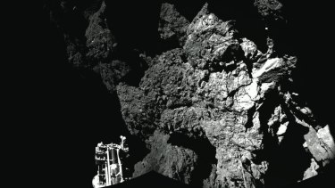 A combination photo of images taken from the Philae lander on the surface of Comet 67P in November.