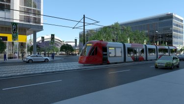 An artist's impression of the light rail at Sydney Olympic Park.