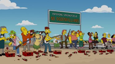 No Ogdenvillians allowed: Insert Mexicans and these Simpsons characters could be Donald Trump supporters.