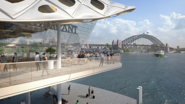 Early concept designs show a potential two-storey wharf over the harbour's waterline, which the government says is an affordable way to improve Circular Quay.