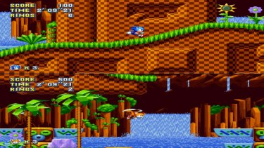 Sonic 2's weird splitscreen multiplayer mode is back.