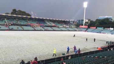 Parramatta Stadium blanketed in hailstones.
