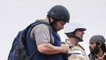 US reporter Steven Sotloff at work in Libya in 2011. Sotloff was beheaded during an Islamic State video featuring 'Jihadi John' in 2014.