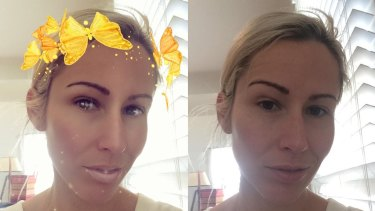 Kate Symons, showing the enhancing effects of Snapchat's butterfly halo: slimmer face, clearer skin, bigger eyes.