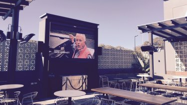 The pub has a 7sqm outdoor TV screen for sports fans.