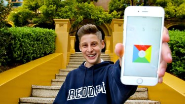 Surprise success: Ben Pasternak and his chart-topping iPhone game, <i>Impossible Rush</i>, outside Reddam House, Woollahra campus.