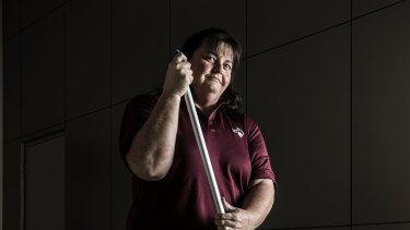 School cleaner Judith Barber from Macksville on the NSW mid-north coast: Her profession can be more dangerous than working on a building site.