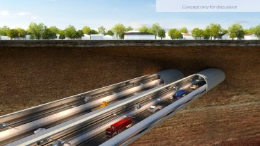 The Western Distributor, as seen in this artist's impression, will include a 1.5 km, six-lane tunnel.