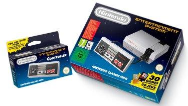 The Nintendo Classic Mini: Nintendo Entertainment System, shown alongside an extra controller.