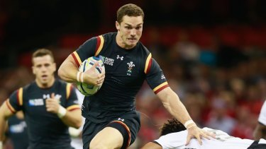 Bruise brother: Wales hope pairing giant backs George North, pictured, and Jamie Roberts in the midfield will do some damage against the Wallabies.