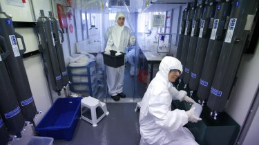 Zanna Chase (seated) analysing samples in the trace metal clean laboratory.