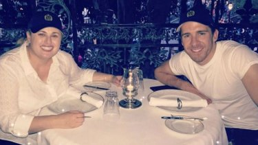 Rebel Wilson with Hugh Sheridan at Club 33 in Disneyland.