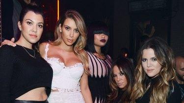 (L-R) Kourtney Kardashian, Kim Kardashian, Blac Chyna, a friend, and Khloe Kardashian at Kim's birthday in 2013.