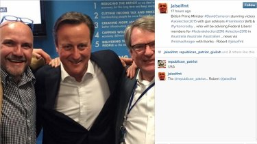 Left to right: Mark Textor, David Cameron, and Lynton Crosby in a post-British election tweet.
