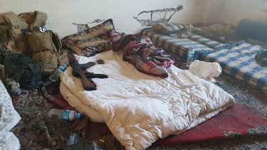 The bedroom of Macer Gifford (a pseudonym), a British man who fought with the Kurds against Islamic State.