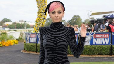 Not so chatty: Nicole Richie during Golden Slipper Day at Rosehill Gardens Racecourse at the weekend.