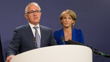 Prime Minister Malcolm Turnbull and Minister for Employment Michaelia Cash address the media after the release of the final report from the royal commission into trade union governance and corruption.
