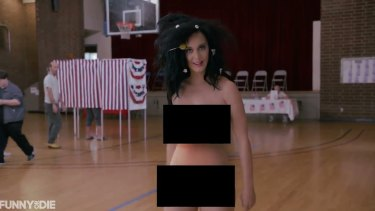 Katy Perry stripped down in Funny or Die video to encourage US voter turnout.