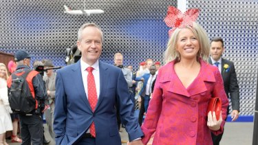 Bill Shorten and his wife Chloe at the Birdcage.