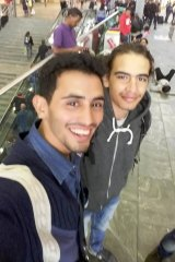 Pianist Ayham al-Ahmed (left) in Vienna with a friend from the Yarmouk camp.