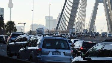 Heavy traffic on the Anzac Bridge, as bus drivers go on strike.