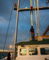 Mr Davies scales up the ship's mast - despite his fear of heights