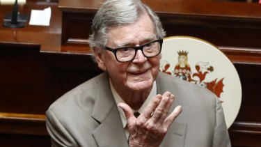 Earl Hamner Jr – the real-life John-Boy – blows a kiss to relatives as he is honoured by the Virginia Senate. Hamer died on Thursday, aged 92.