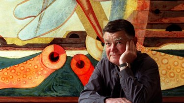 Leonard French with one of his paintings in 1999.