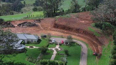 Eucalyptus trees and the top of the ridge were removed.