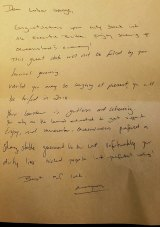A letter left for the incoming Labor government at the Executive Building after the January election.