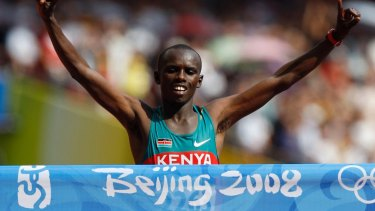 Wanjiru wins the marathon at the Beijing Olympic Games.