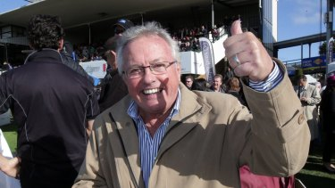 Drew Morphett at Warrnambool after a horse he owned had a win.
