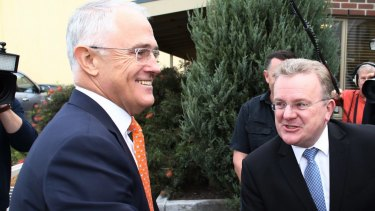 Prime Minister Malcolm Turnbull with Bruce Billson in 2016.