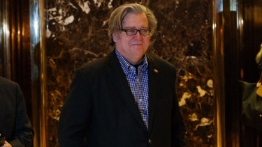 Stephen Bannon leaves Trump Tower in New York on Friday.