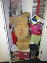 The fire extinguisher cupboard in a Docklands apartment was used to store tenants' belongings.