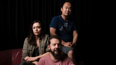 Director Darren Yap (in blue) with actors Emma Jackson and Justin Smith, who are working on a production of <I>Jesus Wants Me For A Sunbeam</I>.