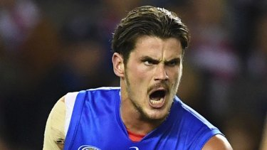 Tom Boyd after scoring a goal against the Swans on Friday night.