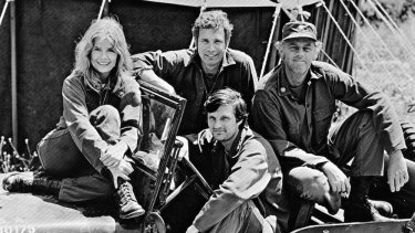 "The cast of <i>M*A*S*H</i>, from left: Loretta Swit (Margaret ""Hot Lips"" Houlihan), Wayne Rogers (Trapper John), McLean Stevenson (Henry Blake) and Alan Alda (Hawkeye Pierce) in the driver's seat."