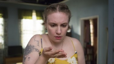 Lena Dunham and her character Hannah Horvath in Girls.