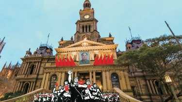 An image of the Sydney Town Hall mocked up by those opposed to the Mao commemoration event.