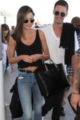 Miranda Kerr and Evan Spiegel  at LAX in Los Angeles in August 2015.