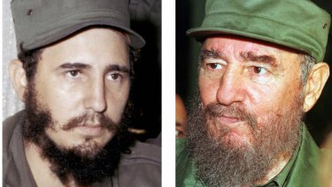 Fidel Castro in 1959, left, and in in 1996.