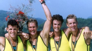 1992 Olympics gold medal winning Oarsome Foursome members Andrew Cooper, Mike McKay, Nick Green and  James Tomkins.